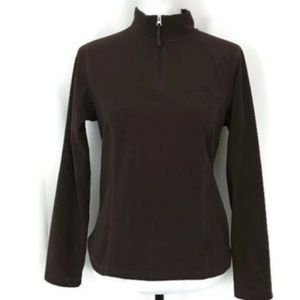 The North Face Zip Fleece Pullover Jacket Brown